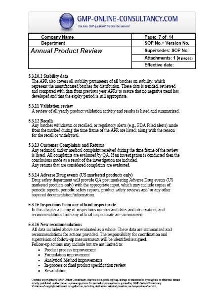 Fda Sop Template by Annual Product Review