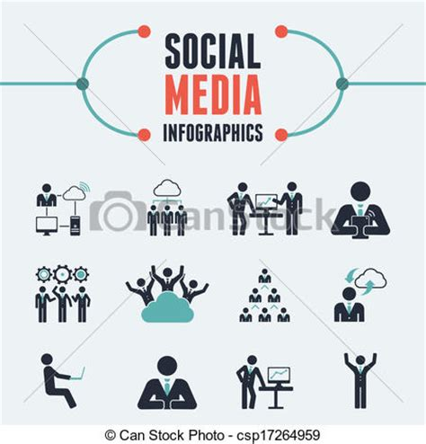 Clipart Vector Of Social Media Infographic Template Flat Social Media Csp17264959 Search Drawing Infographic Template
