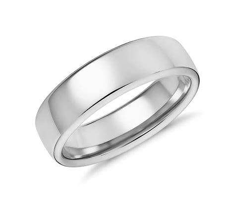 modern comfort fit wedding ring in 14k white gold 6 5mm