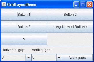 how to use gridlayout (the java™ tutorials > creating a