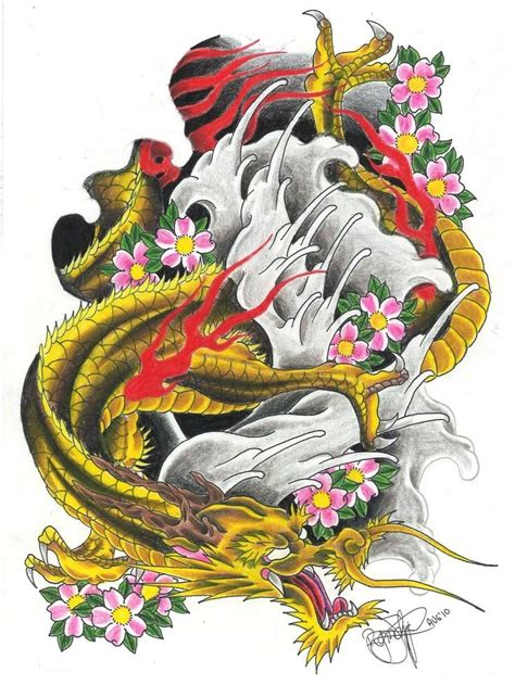 golden asian dragon in red flame with pink cherry blossom