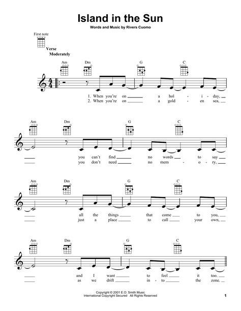Ukulele Tutorial Island In The Sun   island in the sun sheet music by weezer ukulele 152167