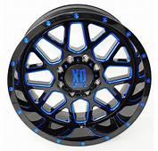 20 20x10 KMC XD820 Grenade Blue Black Wheels Rims 8x65