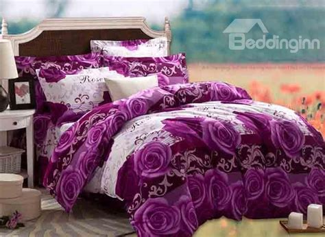 purple rose comforter set 3d purple rose printed cotton 4 piece full size bedding