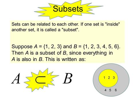 Set 2in1 set notation subset element union intersection not a subset ppt