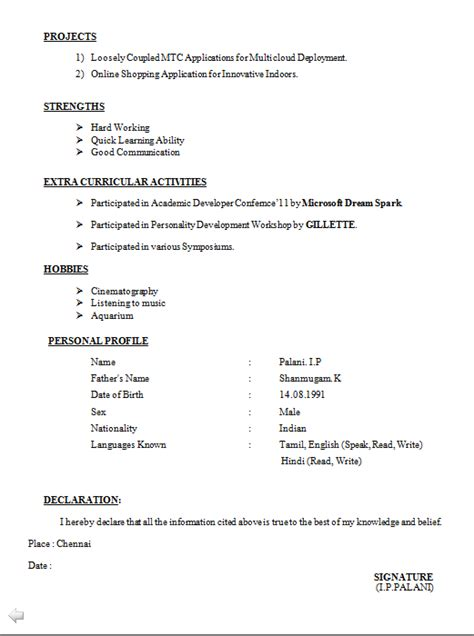 Download Resume Format Freshers Be Resume Format Free Download