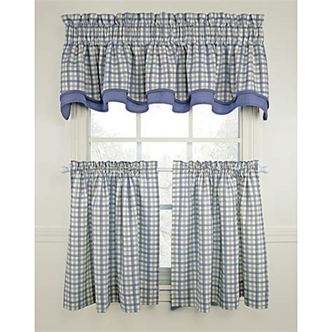 Blue Plaid Kitchen Curtains Bristol Plaid Window Curtain Tiers Blue 100 Cotton Bed Bath Beyond