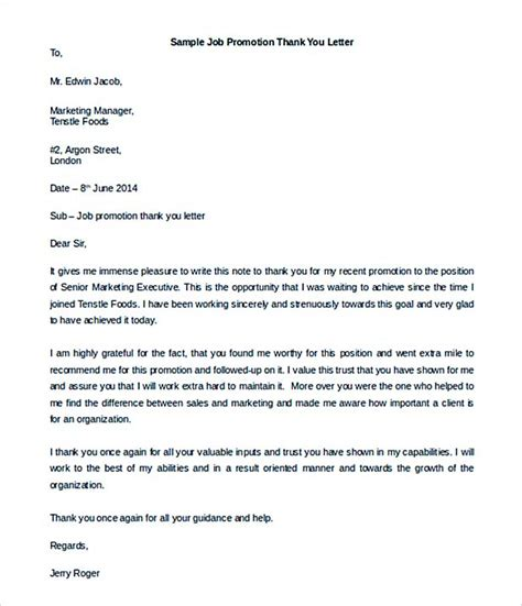 thank you letter to for promotion sle 35 thank you letter template