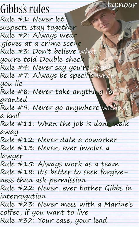 gibbs rules the complete list from ncis page 2 ncis gibbs from ncis quotes quotesgram
