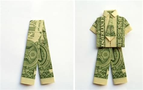 Simple Dollar Origami - make money origami trousers or step by step
