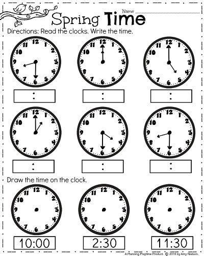 printable clock math worksheets first grade worksheets for spring clock worksheets math