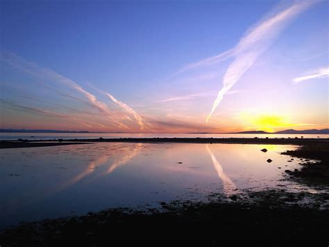 Free picture: sunset, sky, sun, sea, coast, water, beach