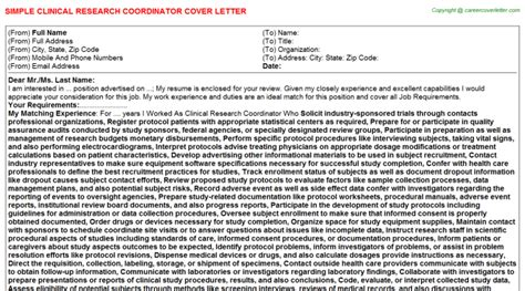 Research Supervisor Letter clinical research coordinator cover letter sle