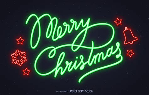 neon merry christmas sign vector download