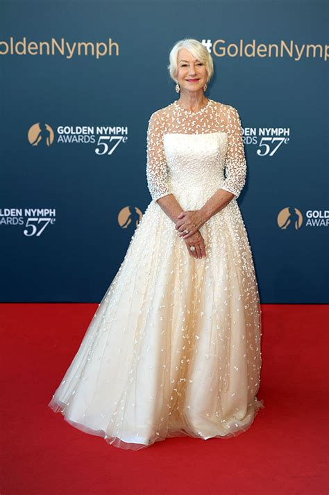 dame helen mirren wears  beautiful white sassi holford