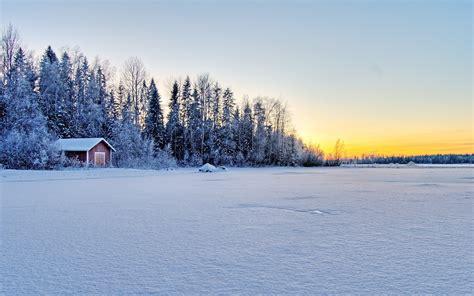 Frozen Cabin by Cabin By The Frozen Lake Wallpaper