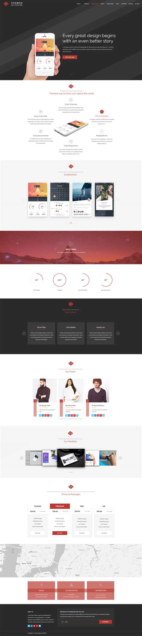 design app wordpress cosmos responsive app landing wordpress theme