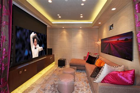 Home Theatre Wall Decor townsend theater room contemporary home theater