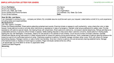 Career Switch Resume Sample by Ushers Job Application Letters Samples