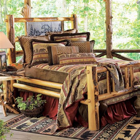 country bedding set rustic bedroom interior design ideas with rustic log bed