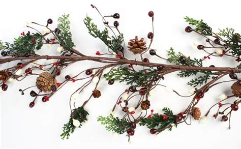 60 quot christmas cedar pine cone and berry garland