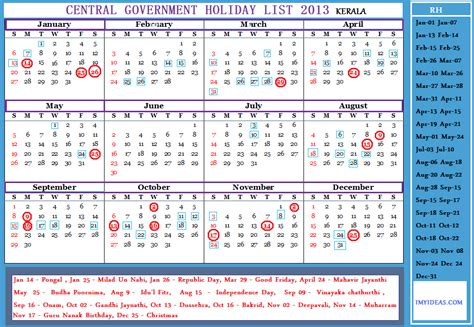 Central Government Employees Holiday Calendar 2013 Download