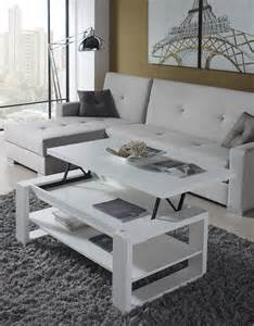table basse de salon relevable blanc contemporaine clive