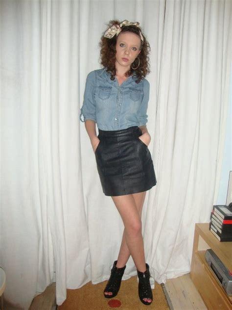 ellie stephens new look denim shirt vintage leather