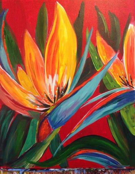 acrylic painting cook bird of paradise a brand new painting for