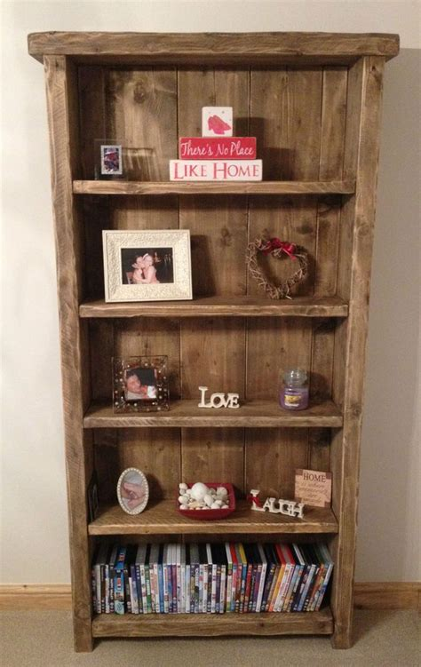 Wooden Bookshelf by Bespoke Handmade Rustic Farmhouse Style Wooden Bookcase