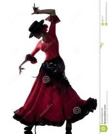 One woman gypsy flamenco dancing dancer on studio isolated white