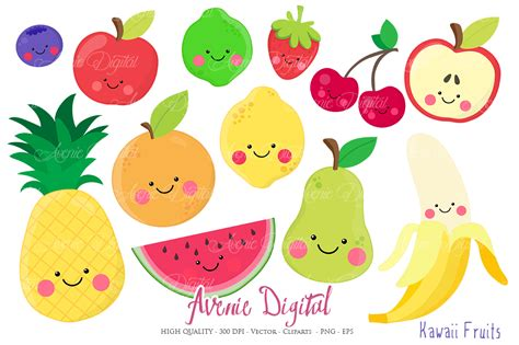 fruit clipart kawaii fruits clipart vectors by aveniedigital