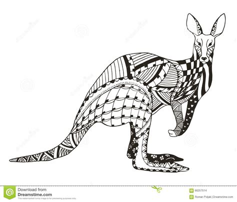 kangaroo zentangle stylized vector illustration