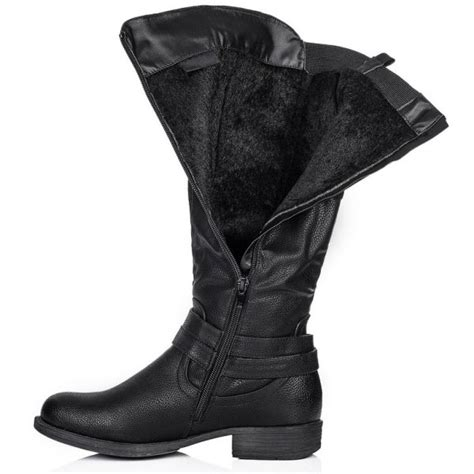 buy struck flat wide calf knee high biker boots black