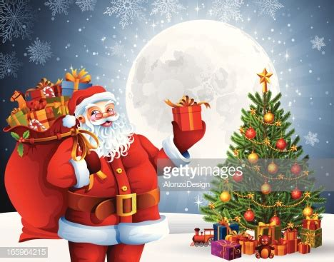 img of santa claus and x mas tree santa claus with gifts and tree vector getty images