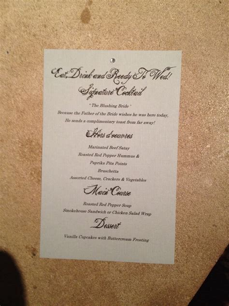 bridal shower menu card bridal shower