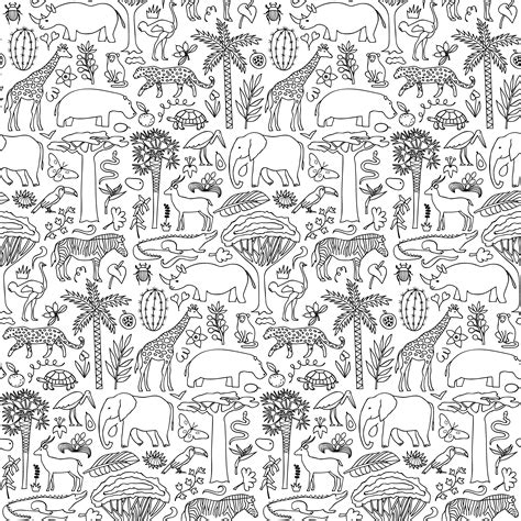 seamless pattern by hand africa hand drawn safari seamless pattern custom wallpaper