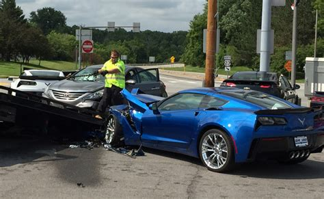 two z06 corvettes hit by out of control car gm authority