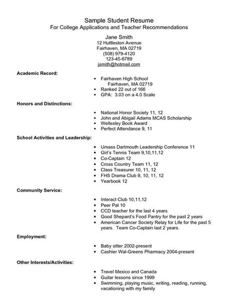 sle resume for college application template exle resume for high school students for college