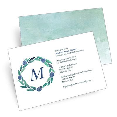 spring wreath first holy communion invitations watercolor wreath first communion invitation blue