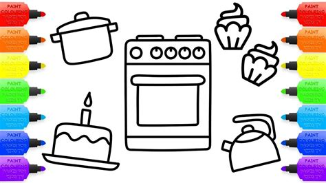 toy kitchen coloring page baby kitchen toys coloring book cupcakes and children s