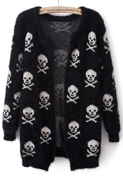 Sweater Black Skull black skull print sleeve wrap acrylic cardigan