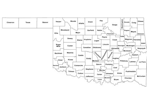 oklahoma counties map oklahoma county map with county names free