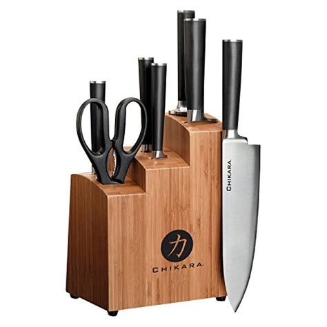 ginsu 5 piece stainless steel knife set kitchen cutlery hardwood block new ebay ginsu gourmet chikara series forged 8 piece japanese steel
