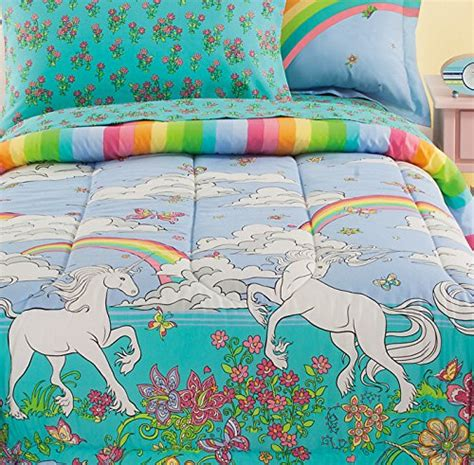 unicorn bedding twin fairy tale rainbows unicorns girls twin comforter set 6