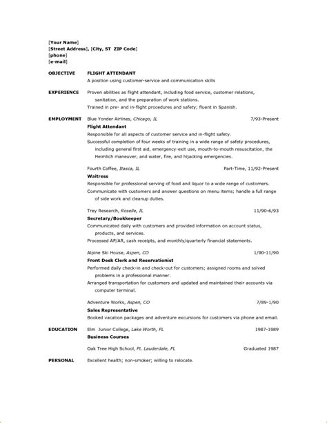 flight attendant sle resume no prior experience insurance sales resume no experience air hostess with flight attendant cv flight attendant