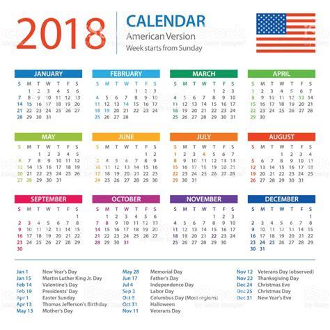 Calendar 2018 Photos Calendar 2018 American Version With Holidays Stock Vector