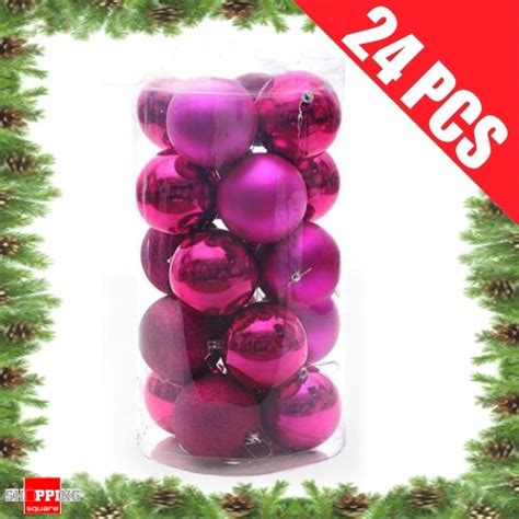 24 pcs 4cm hot pink christmas tree baubles for xmas