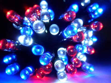Devida Patriotic Christmas Lights Outdoor Holiday White And Blue Lights