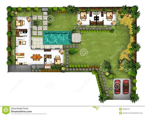 green plans of planning house with with green area stock